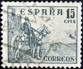 SPAIN - CIRCA 1939: A stamp printed in the Spain, shows a national hero of Spain's El Cid Campeador on a horse, circa 1939 — Stock fotografie