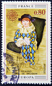 """FRANCE - CIRCA 1975: A stamp printed in France shows the work """"Paul the harlequin"""" by Pablo Picasso, circa 1975 — Stock Photo"""
