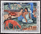FRANCE - CIRCA 1968: stamp printed by France, shows Arearea (Merriment) by Paul Gauguin, circa 1968 — Stock Photo