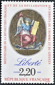 FRANCE - CIRCA 1989: A stamp printed in France in commemoration of the bicentennial of the French Revolution and the Bill of Rights of Man and Citizen, circa 1989 — Stock Photo