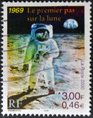 FRANCE - CIRCA 2000: A stamp printed in France shows the first man on the moon, Neil Armstrong, circa 2000 — Stock Photo