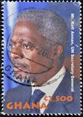 GHANA - CIRCA 2003: A stamp printed in ghana shows Kofi Annan, UN Secretary General, circa 2003 — Stock Photo