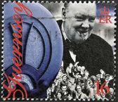 GUERNSEY - CIRCA 1995 : stamp printed in Guernsey showing Winston Churchill, circa 1995 — Stockfoto