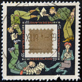 HOLLAND - CIRCA 1991: A stamp printed in Holland shows a seal designed by Joost Swarte, circa 1991 — Stock Photo