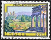 İtalya'da basılmış damga tapınaklar agrigento gösterir — Stok fotoğraf