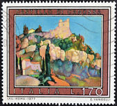 A stamp printed in Italy shows the castle of Canossa — Stock Photo