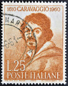 ITALY - CIRCA 1960: a stamp printed in Italy celebrates the third centenary of the death of Caravaggio showing an image of the famous italian artist, circa 1960 — Stock Photo
