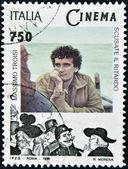 ITALY - CIRCA 1996: A stamp printed in Italy shows Massimo Troisi, circa 1996 — Stock Photo