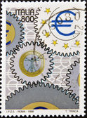 ITALY - CIRCA 1998: A stamp printed in Italy shows currency and euro symbol, circa 1998 — Stock Photo