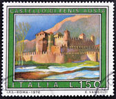 ITALY - CIRCA 1976: A stamp printed in Italy shows Fenis Castle, Aosta, circa 1976 — Stock Photo