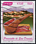 ITALY - CIRCA 2009: A stamp printed in Italy dedicated to ham of San Daniel, circa 2009 — Stock Photo