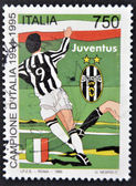 ITALY - CIRCA 1995: A stamp printed in Italy dedicated to Juventus of Turin, Italy champion, circa 1995 — 图库照片