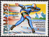 ITALY - CIRCA 1995: A stamp printed in Italy dedicated to men's world championship speed skating, circa 1995 — Stock Photo