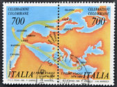 ITALY - CIRCA 1990: A stamp printed in Italy dedicated to Columbian celebrations, shows the first trip, circa 1990 — Stock Photo