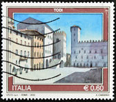 ITALY - CIRCA 2010: A stamp printed in Italy shows Todi — Stockfoto