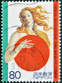 JAPAN - CIRCA 2001: A stamp printed in Japan shows Botticelli's Venus, covering with Japanese symbol, circa 2001 — Stockfoto