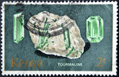 KENYA - CIRCA 1977: A stamp printed in Kenia shows minerals Found in Kenya. Tourmeline, circa 1977. — Stock Photo