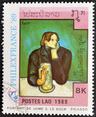 """LAOS-CIRCA 1989: A stamp printed in the Laos shows painting """"portrait de Jaime S. Le Bock"""" by Pablo Picasso, circa 1989 — Stock Photo"""