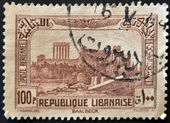 LEBANON - CIRCA 1930: A stamp printed by Lebanon, shows Ruins of Bacchus Temple, Baalbek, circa 1930 — Stock Photo