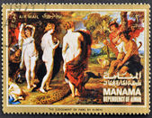 "MANAMA (AJMAN)- CIRCA 1972: A stamp printed in the Manama shows painting ""The judgement of Paris"" by Peter Paul Rubens, detail, circa 1972 — 图库照片"