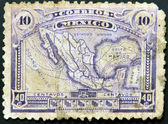 MEXICO - CIRCA 1915: A stamp printed in Mexico shows map of mexico with the rail network, circa 1915 — Stock Photo