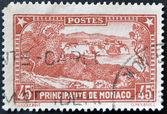 MONACO - CIRCA 1933: A stamp printed in Monaco shows the rock of Monaco , circa 1933 — Stock Photo