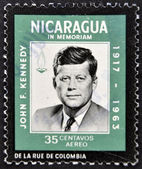 NICARAGUA - CIRCA 1963: A stamp printed in Nicaragua shows John F. Kennedy, circa 1963 — Stock Photo
