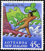 NEW ZEALAND - CIRCA 1994: A stamp printed in New Zealand shows image of a scene from a Mauri folk legend, circa 1994 — Stock Photo