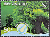 NEW ZEALAND - CIRCA 2008: A stamp printed in New Zealand shows a diver in the dusky sound, Fiordland, circa 2008 — Stock Photo