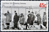 NEW ZEALAND - CIRCA 2007: A stamp printed in New Zealand commemorating scott Base 1957 Opening ceremony, circa 2007 — Stock Photo