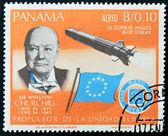 PANAMA - CIRCA 1966: A stamp printed by Panama, shows Sir Winston Churchill and rocket Blue streak, circa 1966 — Stock Photo