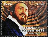 PERU - CIRCA 2009: A stamp printed in Peru shows Luciano Pavarotti, famous tenor, circa 2009 — Stock Photo
