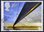 UNITED KINGDOM - CIRCA 1983: A stamp printed in Great Britain shows Humber Bridge, circa 1983 — Stock Photo