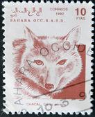 SAHARA - CIRCA 1992: A stamp printed in Sahrawi Arab Democratic Republic (SADR) shows Golden jackal, Canis aureus, circa 1992 — Stock Photo