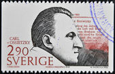 SWEDEN - CIRCA 1986: A stamp printed in Sweden dedicated to Nobel Peace, shows Carl von Ossietzky, circa 1986 — Stock Photo