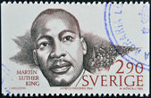 SWEDEN - CIRCA 1986: A stamp printed in Sweden dedicated to Nobel Peace, shows Martin Luther King, circa 1986 — Stock Photo