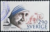SWEDEN - CIRCA 1986: A stamp printed in Sweden dedicated to Nobel Peace, shows mother Teresa, circa 1986 — Stock Photo