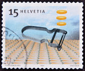 SWITZERLAND - CIRCA 2004: A stamp printed in Switzerland dedicated to Swiss design, shows rex peeler, circa 2004 — Stockfoto