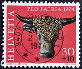 SWITZERLAND - CIRCA 1974: A stamp printed in Switzerland shows sculpture of a bull's head, valere museum, sion, circa 1974 — Stock Photo