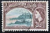 TRINIDAD AND TOBAGO - CIRCA 1953: A stamp printed in Trinidad and Tobago shows Irvine Bay, circa 1953 — Stock Photo