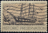 UNITED STATES OF AMERICA - CIRCA 1971: A stamp printed in USA shows the charles w. morgan, historic preservation, circa 1971 — Stock Photo