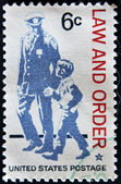 UNITED STATES - CIRCA 1968: stamp printed in USA shows The police as protector and friend and respect for law and order, circa 1968 — Stock Photo