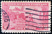 UNITED STATES - CIRCA 1925: A stamp printed in USA shows the battle of Lexington-Concord. The American Revolution, circa 1925 — Stock Photo