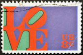 UNITED STATES OF AMERICA - CIRCA 1973: A stamp printed in USA shows the Love by Robert Indiana, circa 1973 — Stock Photo