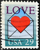 UNITED STATES OF AMERICA - CIRCA 1991: A stamp printed in USA shows a love letter, circa 1991 — ストック写真