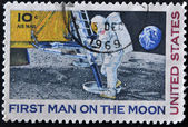 UNITED STATES - CIRCA 1969: A stamp printed in USA shows Neil Armstrong, first step on the moon, circa 1969 — Stock Photo