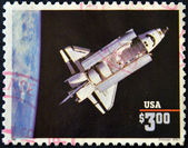 UNITED STATES OF AMERICA - CIRCA 1995: A stamp printed in USA shows space shuttle challenger, circa 1995 — Stock Photo