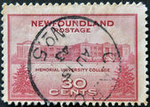 UNITED STATES OF AMERICA - CIRCA 1943: A stamp printed in USA shows memorial university college, Newfoundland, circa 1943 — Stock Photo