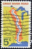 Usa - cca 1966: razítka v usa ukazuje velké řeky silnici, cca 1966 — Stock fotografie
