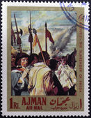 "AJMAN - CIRCA 1968: A stamp printed in Ajman shows ""the surrender of Breda"" by Velazquez, circa 1968 — Stock Photo"